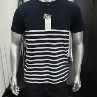 Mens Henley Neck Striped T Shirt