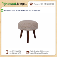 Good Quality Best Material made Knitted Ottoman Wooden Round Stool for Buyers