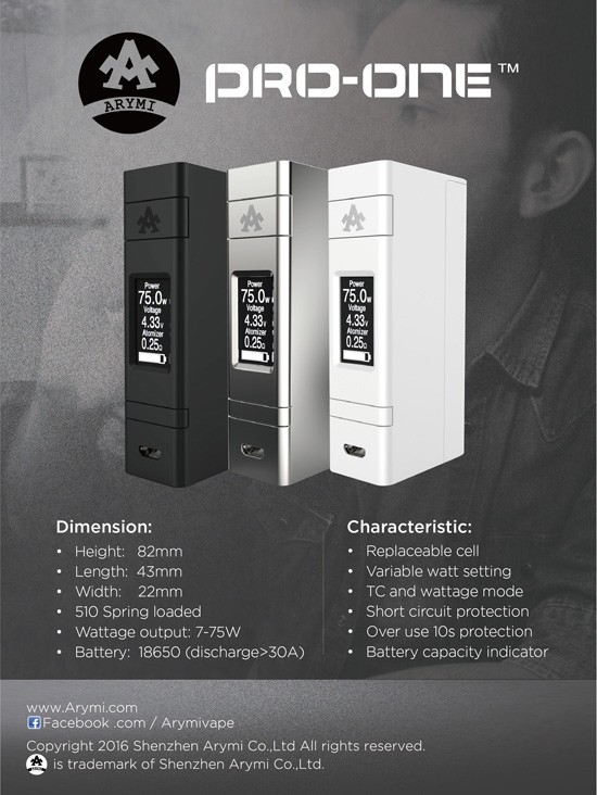Arymi PRO-ONE battery 75W MOD
