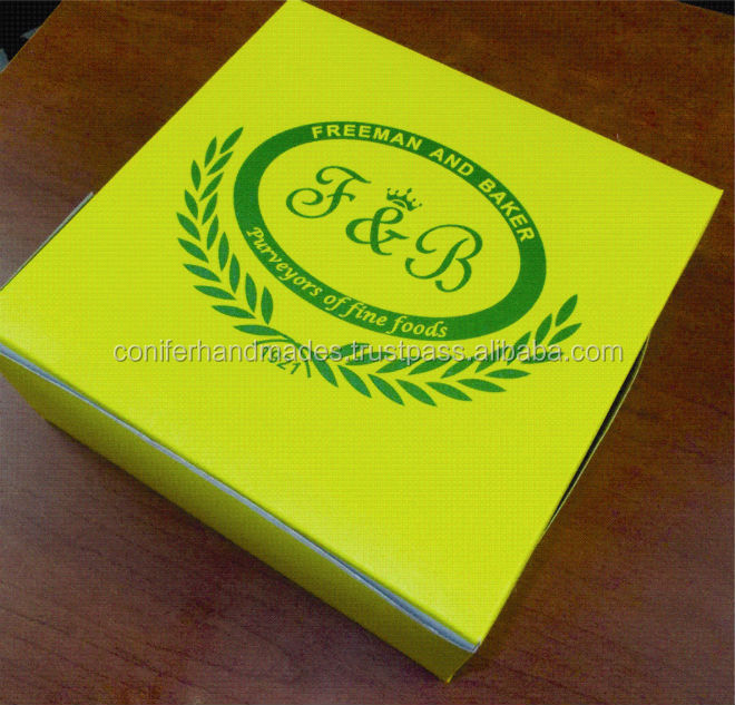custom logo printed cup cake boxes with inserts for cake shops, bakeries and cake manufacturers