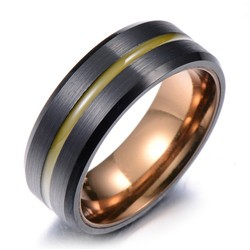 Rose gold& black matt finish tungsten ring center grooved, wholesalefashion jewelry 2016 brushed tungsten rings with bevel edges