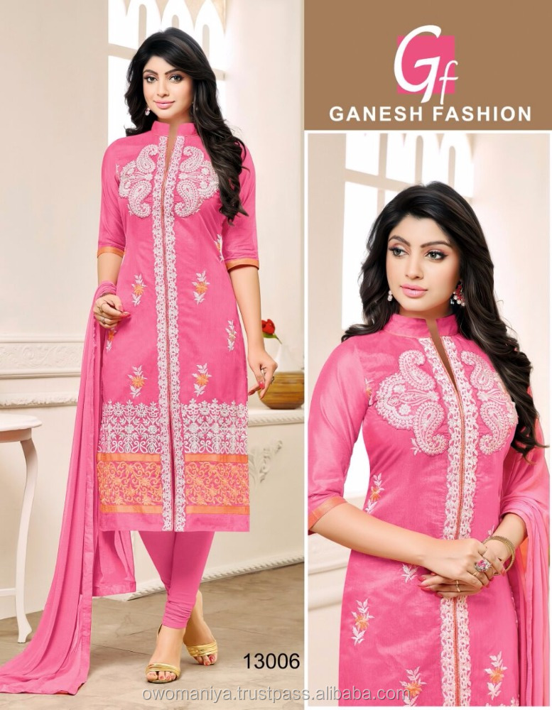 chanderi cotton hand work design salwar kameez with dupatta