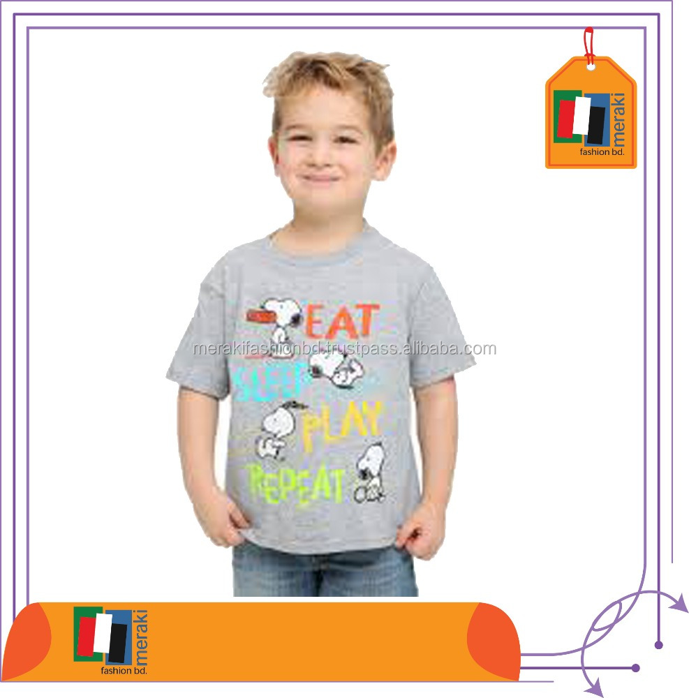 Alibaba Sports Manufacturers in Ludhiana Rubber Print Moisture Absorption Tops for Children T-Shirts