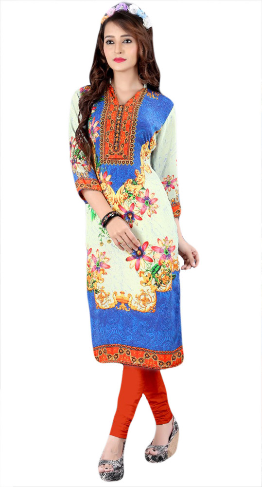 Blue & White Colour Digital Printed Casual Daily wear Kurti / Stylish Kurti For Working Women / Office Wear Traditional Kurti