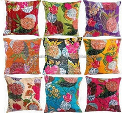 Indian Handmade Kantha Cushion covers , cotton/boho/ hippie/chic/ housewarming gift/ birthday gift/ banjara