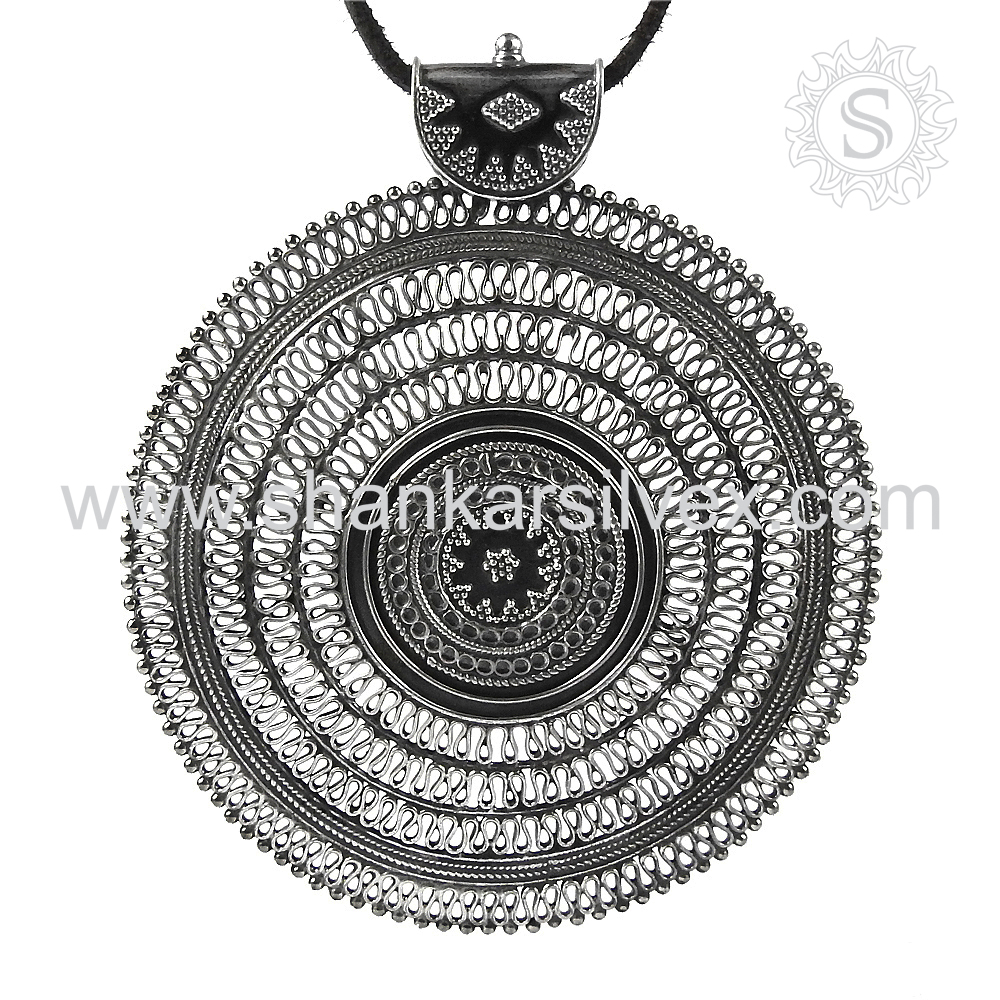 High Oxidized Pave Design Pendant 925 Silver Jewelry Handmade Indian Silver Jewelry Supplier