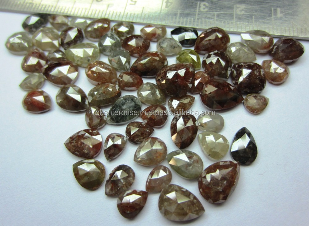 Rose cut icy natural fancy color loose diamond variety shapes sale