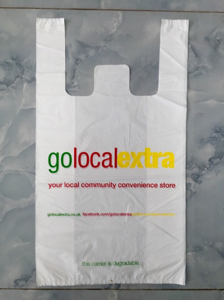Premium HDPE Plastic T shirt Bags for Grocery Stores / Restaurant Take Away