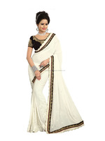 White Georgette Saree with Black Valvet Blouse