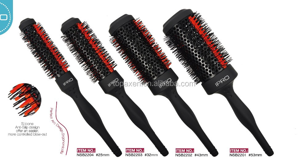 2015 factory direct wholesale good look ceramic rubber bristle personalized hair brush