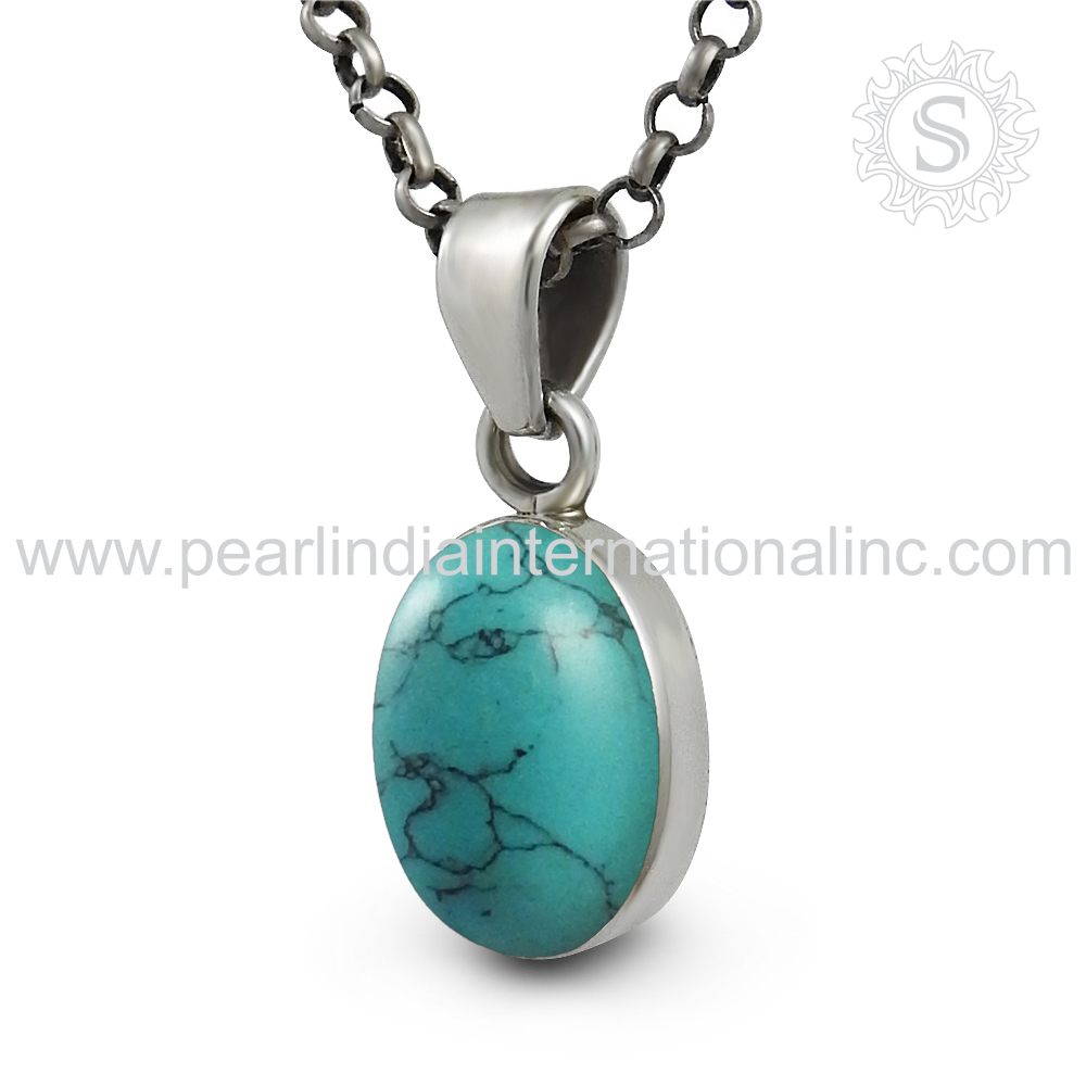 Hot proficient sky turquoise gemstone charms pendant wholesale silver jewelry 925 sterling silver pendant