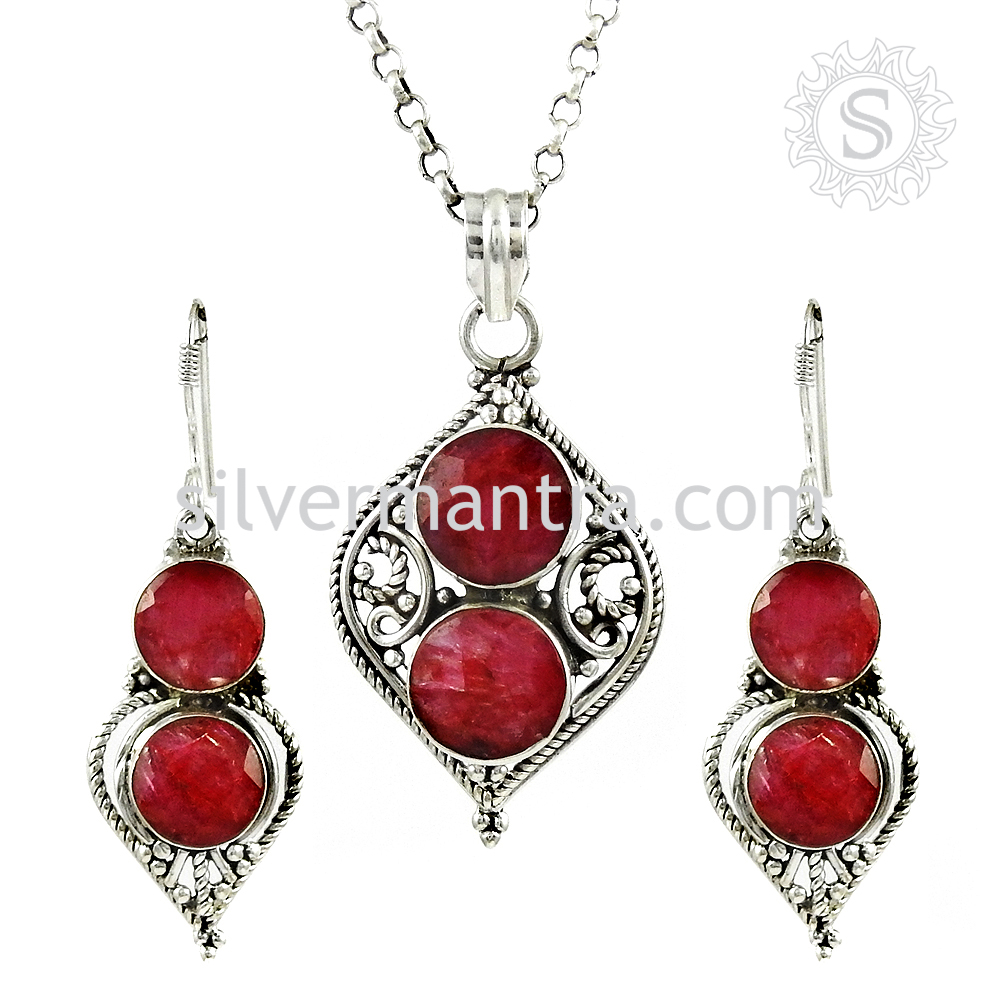 Glittering Pink Ruby 925 Sterling Silver Jewelry Set Gemstone Silver Jewellery Manufacturer Wholesaler