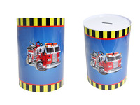 "TIN SAVING BANK FIRE TRUCK 3.9""D X 5.9""H, #23642T"