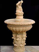 French Exotic Garden Fountain ( Stone Fountain in Jaisalmer Yellow Marble ) Carving Fountain VAEJ-0123