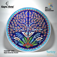 Hand-made Hand-painted Traditional Decorative Turkish Ceramic Plate - 001