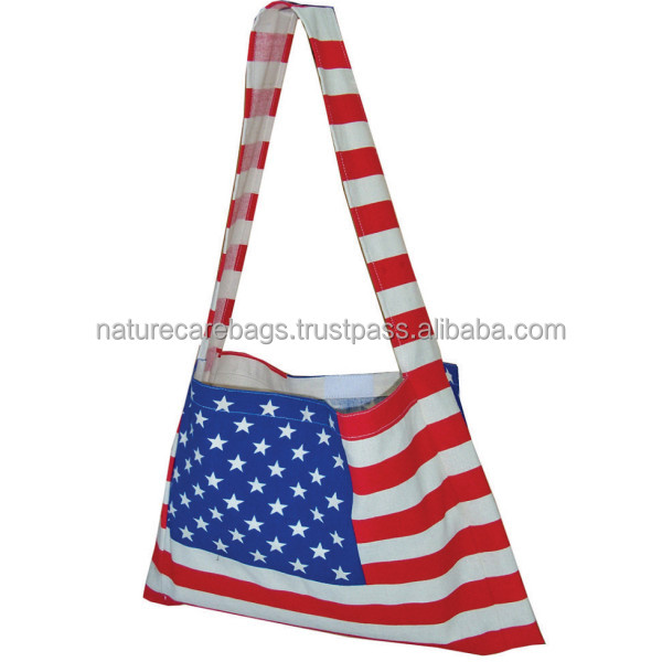 08 oz. Natural Cotton Canvas printed hobo bag with long sling self handle and Velcro closure.