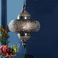 Moroccan Hanging Lamps With Hand Embossing White shiny Finish Pendant