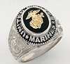 Sterling Silver Marine Corps Military Ring