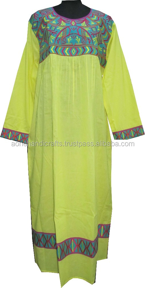 Designer ladies long Kaftan , cotton fabric yellow color embroidery kaftan
