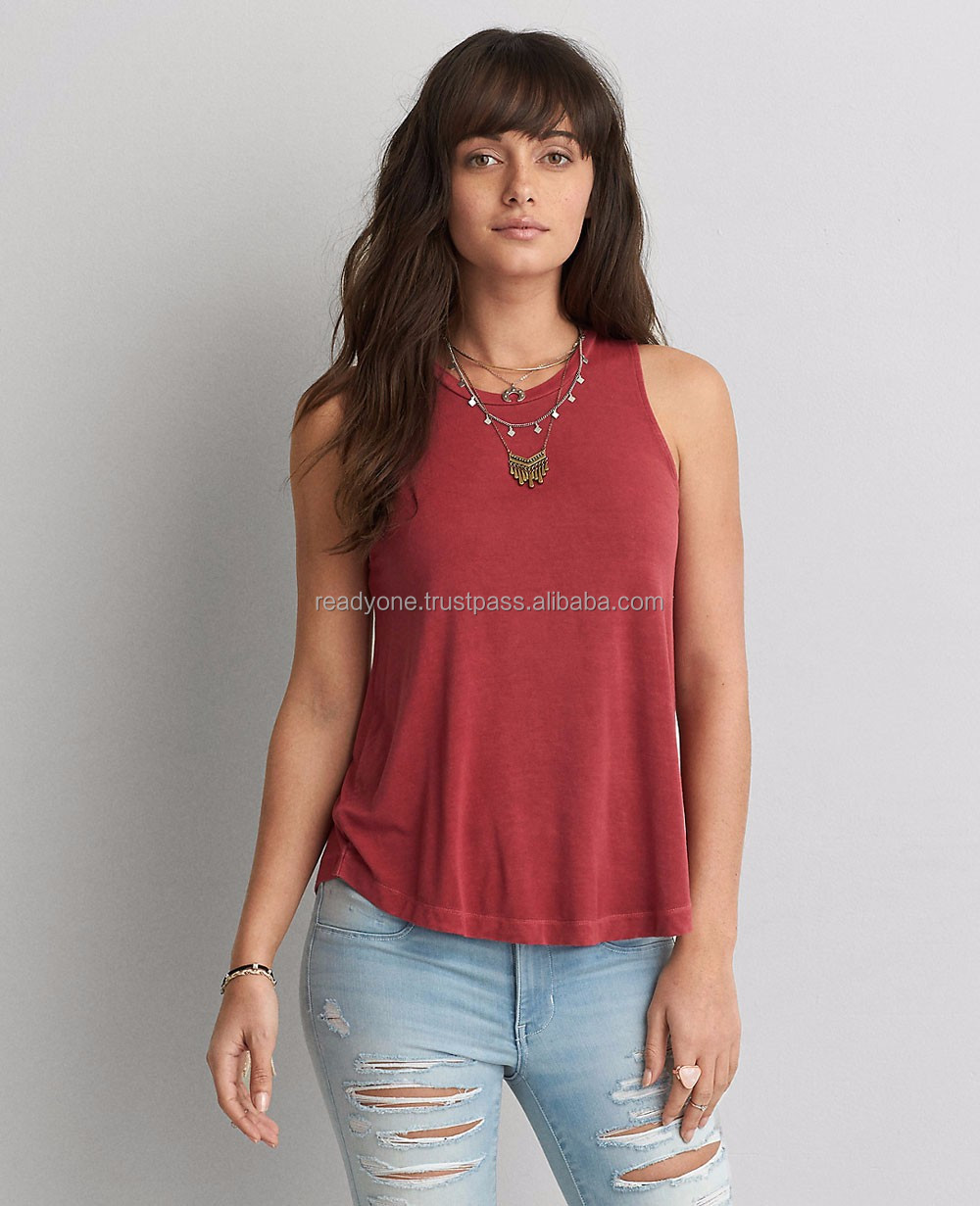 Raw neckline sleeveless women tank top,embroidered cotton tops women india