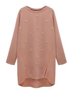 Plus Size Imitation Pearl Design Knitwear Uneven Hem Long Sweater Pure Color O Neck Long Sleeves Soft Pullover