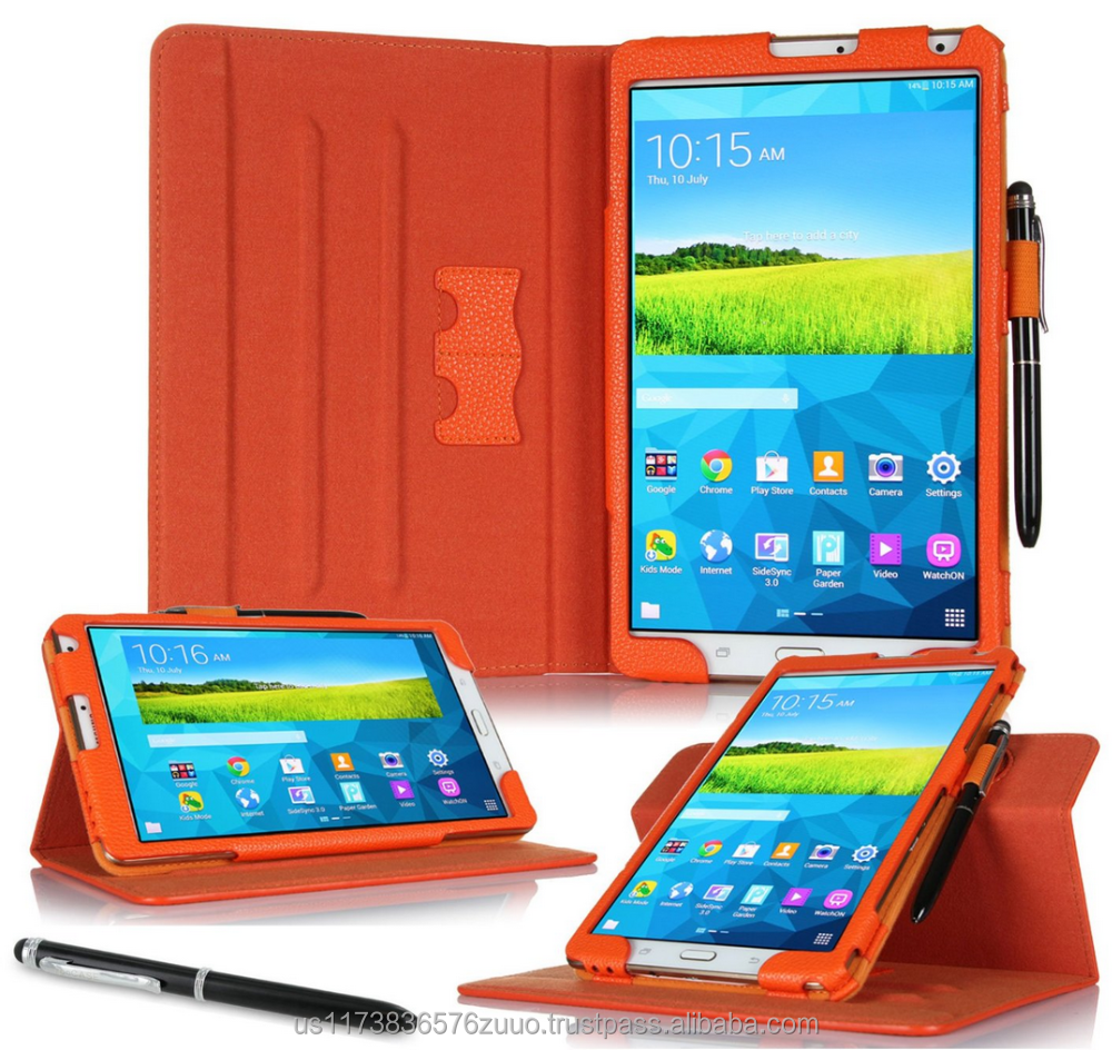 Dual View Slim Fit Premium PU Leather Folio case cover, detach inner sleeve for Galaxy Tab S 8.4 roocase (Orange)