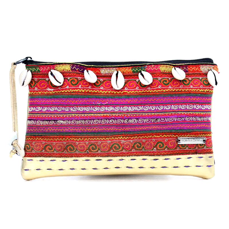 Stylishly Authentic Hmong Leather Cosmetic Purse with Shells - Gold