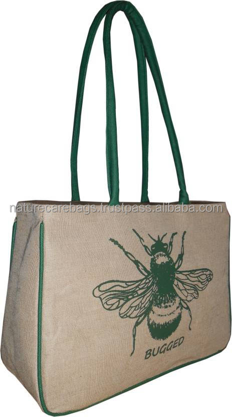 Highly popular eco-friendly silk-screened foldable shopping bag /natural jute bag with customized print and cotton webbed handle