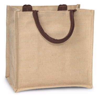 12x7-3/4x12 Inch Juco Tote Reusable Shopping Bag 8.5 Oz 50% Jute 50% Cotton