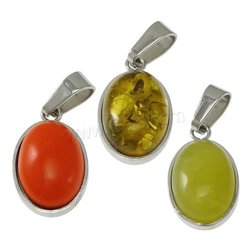 Resin Stainless Steel Pendant with Resin Flat Oval imitation amber & different styles for choice 11x19x6mm HoleApprox 4x6mm