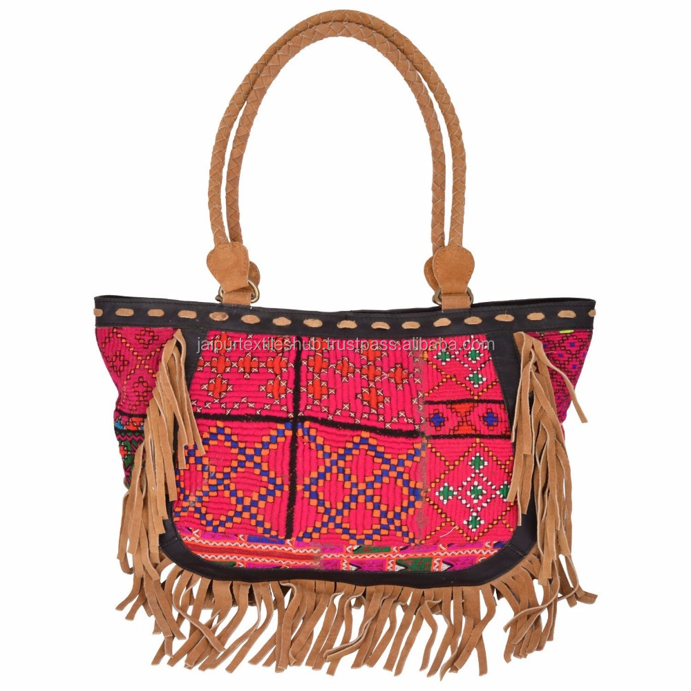 embroidered indian bohemian handbag traditional art with fringes women tote bag handbags ladies