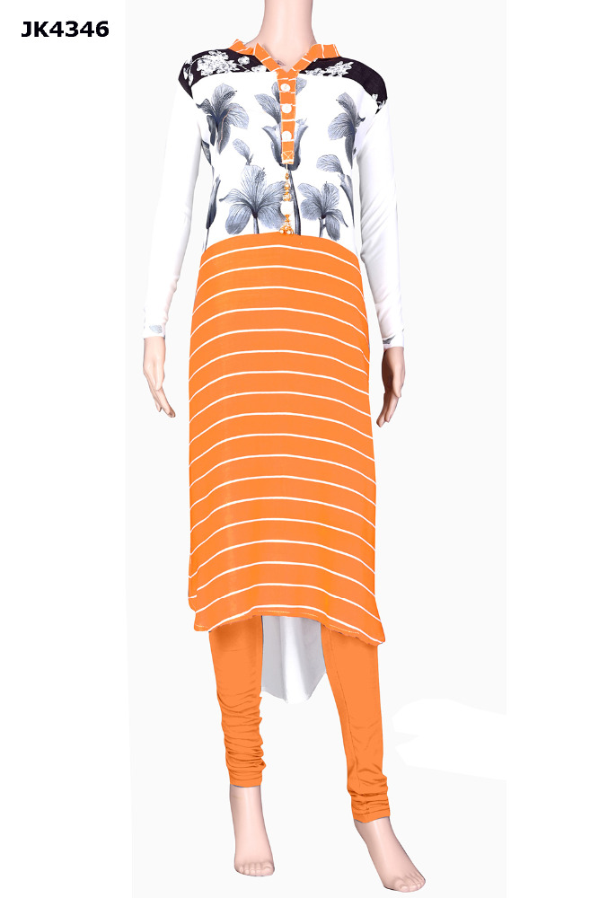 Orange & White Colour Digital Printed Floral Kurti / Latest Ocassion Wear Kurti 2017 / Casual Party Wear Kurtis 2017