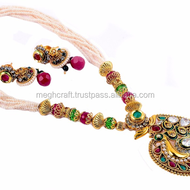 Wholesale New Style Peacock Shape One Gram gold Plated Necklace Set-South Indian Pearl Beaded Gold Plated Peacock Necklace set