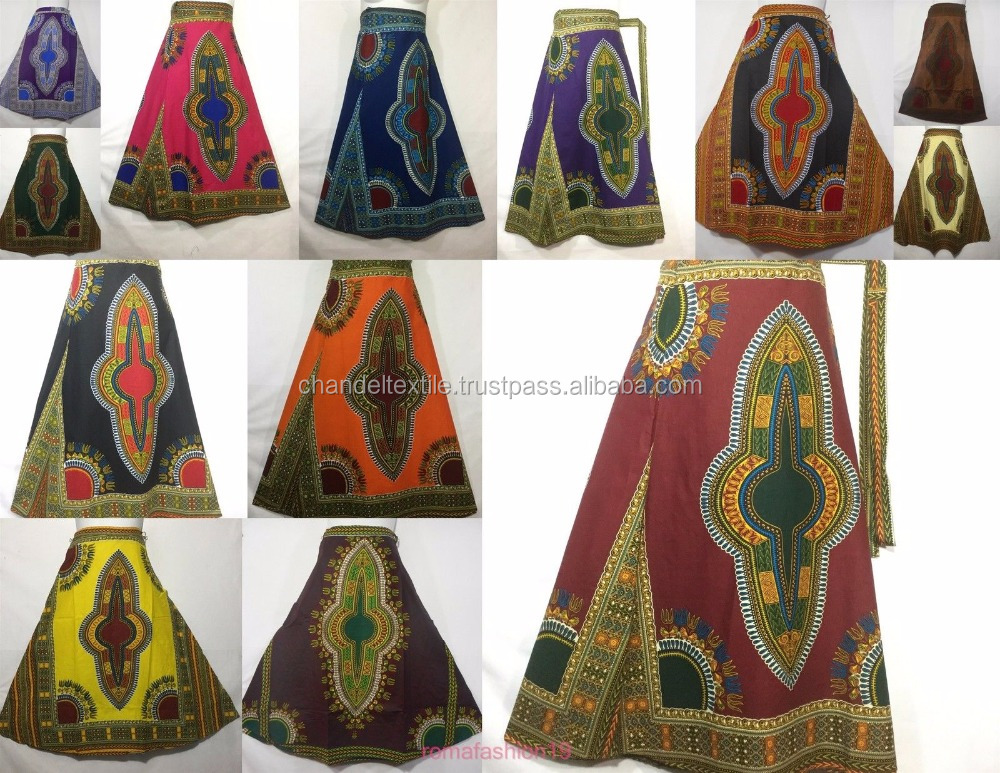 African Wax Ankara Dashiki Print Women Wrap Skirts Dashiki Maxi Long Full Skirt