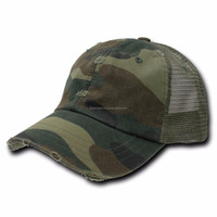 Green Camouflage Vintage Washed Adjustable Mesh Trucker Baseball Cap
