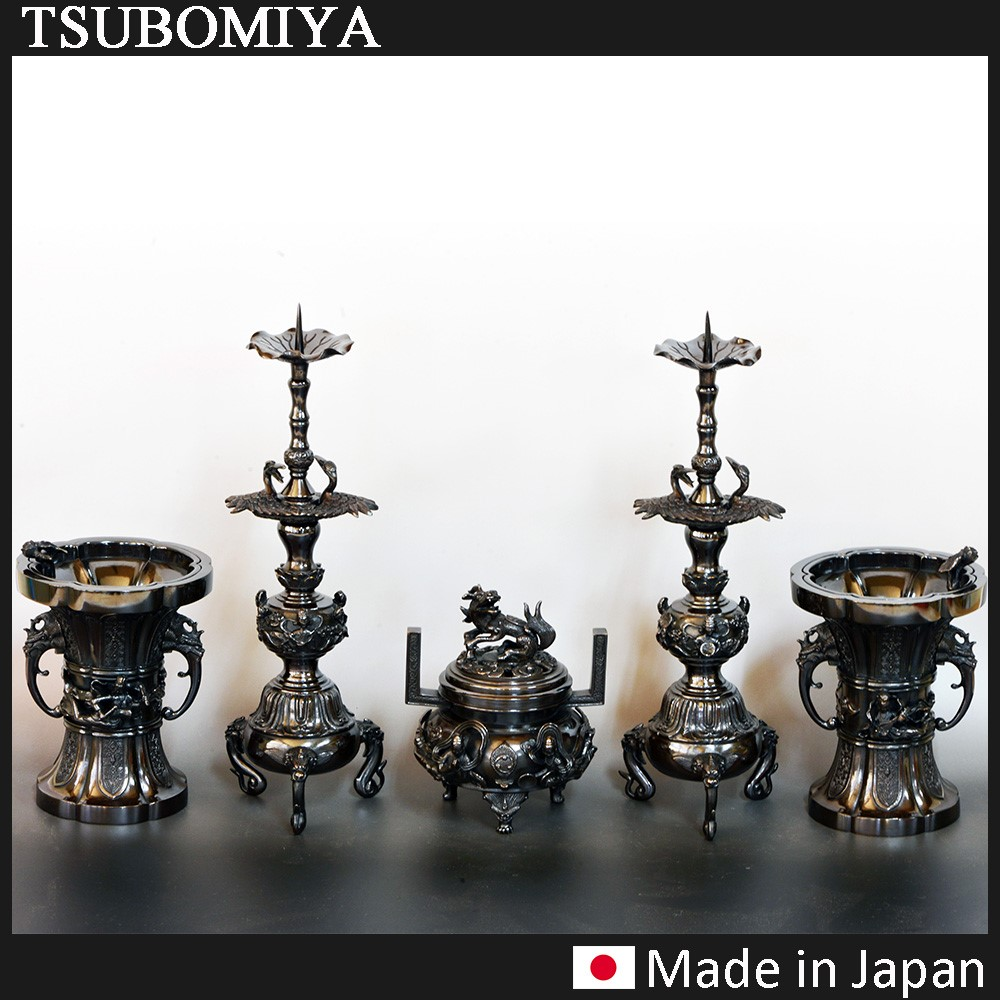 "Classical japanese home decor A heavenly maiden ""TENNYO "" motif Vase , Incense burner and Candlestick set"