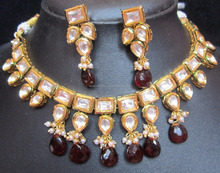 Hi Quality KUNDAN VILANDI pearl Meenakari necklace EARRING set