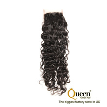 "4x4 Free Part 8"" Virgin Remy Human Hair Water Wave 1 bundle Lace Closure"