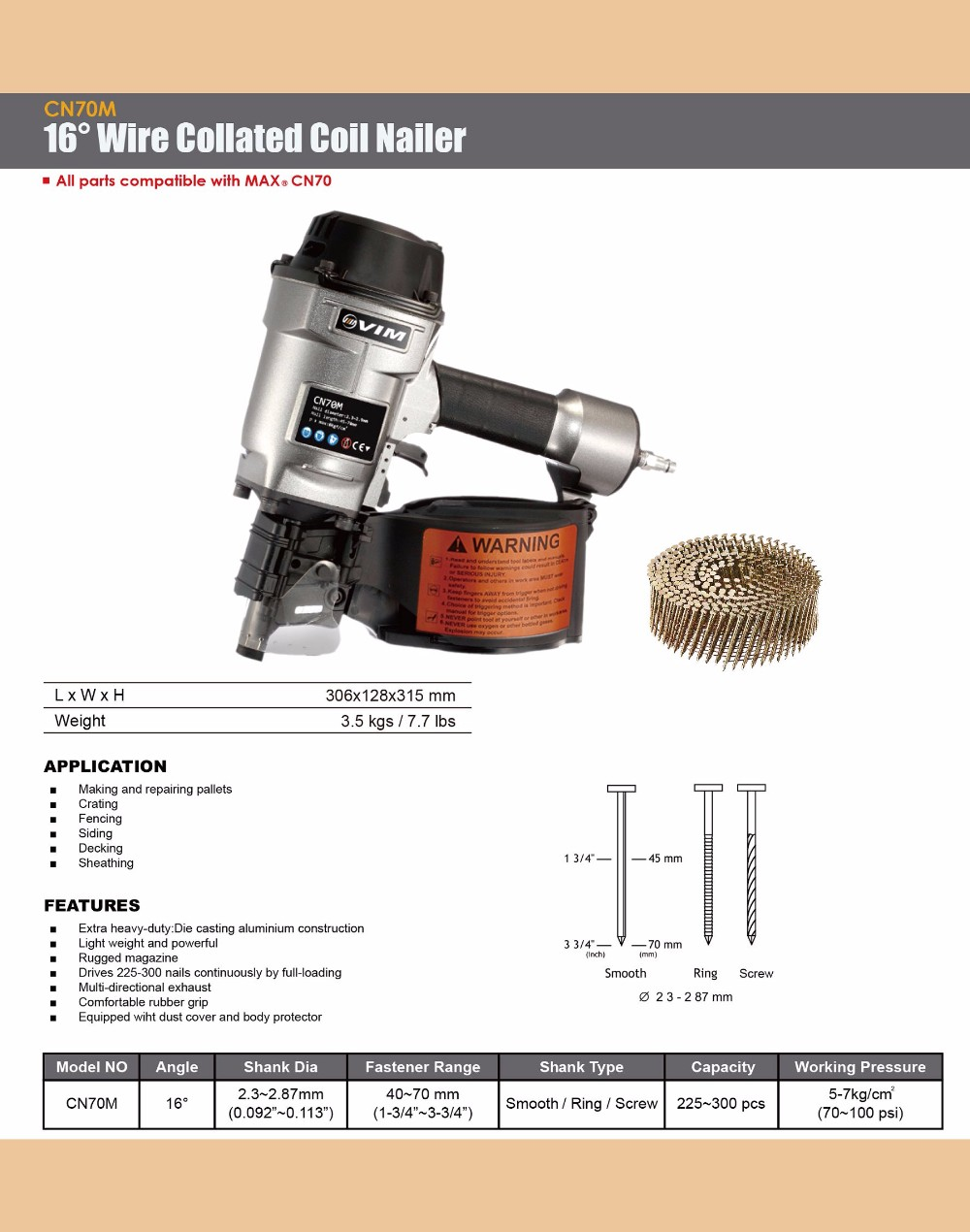 16 Degree Wire Collated Coil Nailer