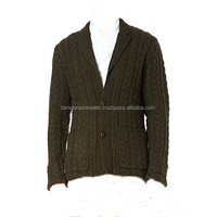 MEN'S ACRYLIC CARDIGAN: MEN'S LONG SLEEVE HEAVY KNITTED 3GG ALLOVER CABLE CARDIGAN SWEATERS