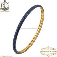 14k Yellow Gold Blue Sapphire Gemstone Bracelets 92.5 Women Bracelet, wholesale Handmade Bracelet Jewelry