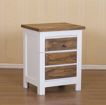 Indonesian Furniture bedside table - White Painted 3 Drawers Nightstand