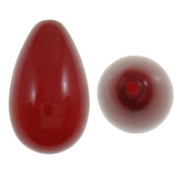 Half Drilled South Sea Shell Beads Teardrop half-drilled red Grade A 9x15.5mm Hole:Appr 1mm 20PCs/Bag Sold By Bag