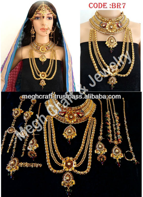 WHOLESALE BRIDAL JEWELRY SETS-GOLD PLATED DULHAN SETS