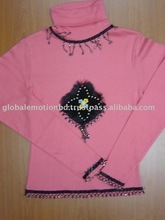 t-shirts with hand application , high quality decorated fashionable high neck ladies t-shirts.
