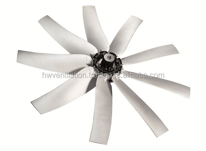 Aluminum sickle axial flow fans for tunnel ventilation, diameter up to 1280mm