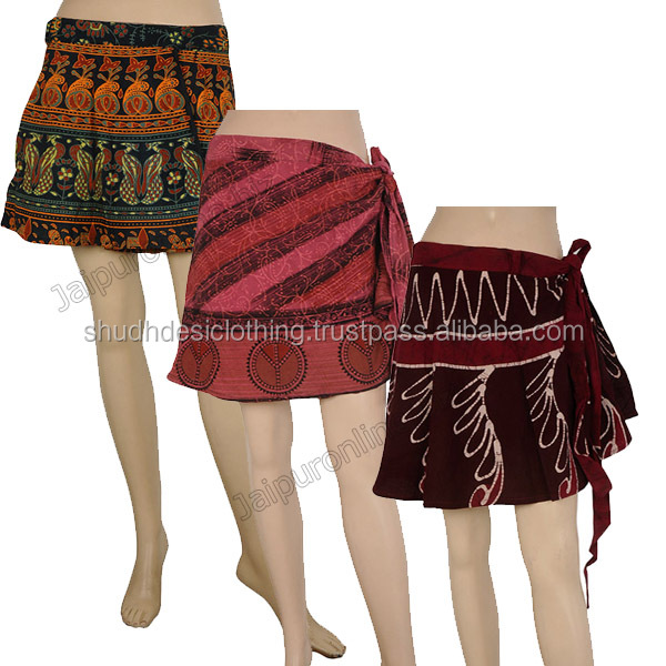 Vintage Skrits Fashionable Printed Mini Skirts Ladies Ethnic Skirt Banjara Skirt Rayon Wrap