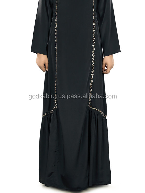 Evening party Wear,Embroidered Fathima Black Abaya/ Muslim Hijab Clothing/Elegant Islamic Clothing Burka/Formal