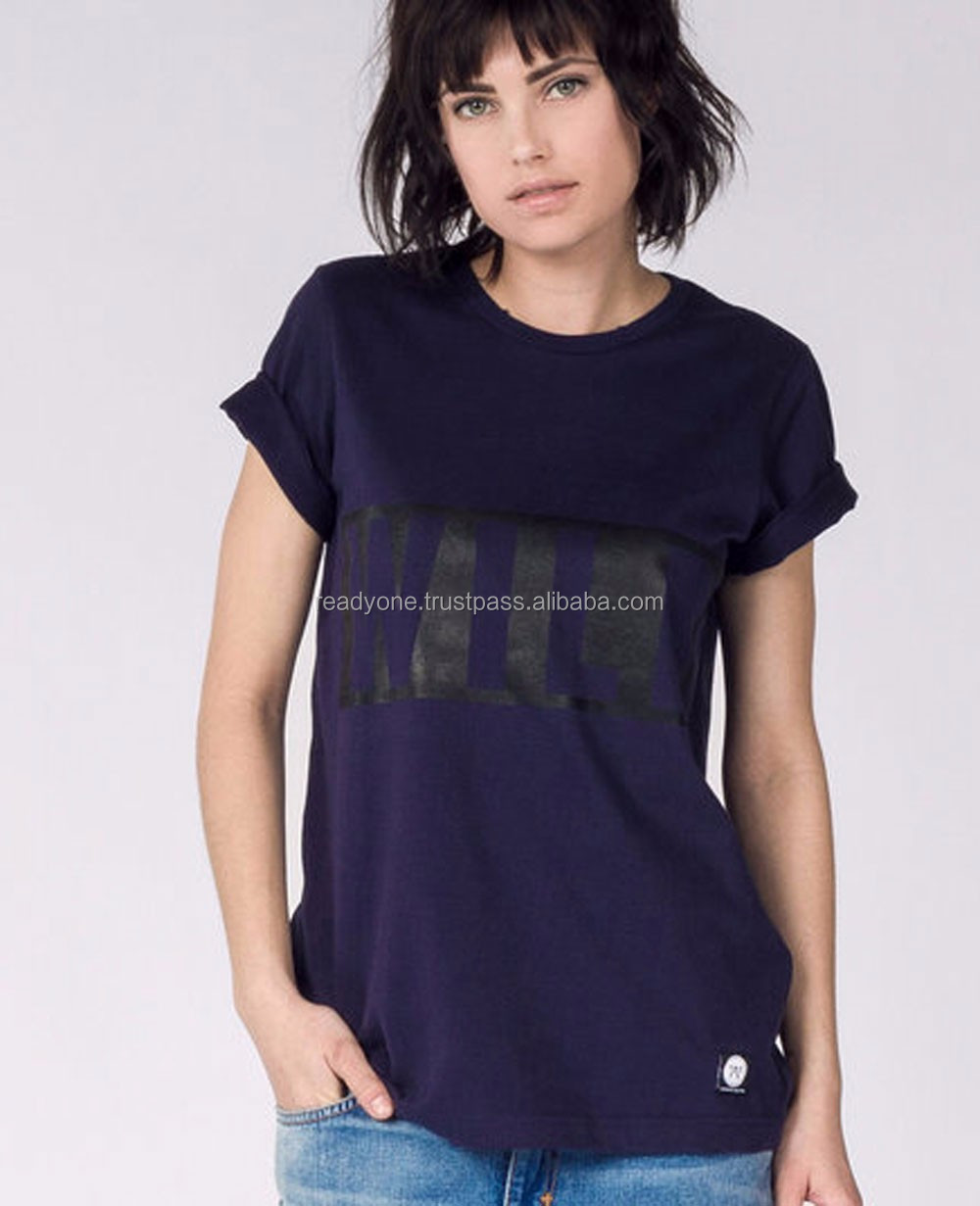 Made in thailand products 95% cotton 5% elastane two color t shirt women fashion clothing wholesale