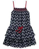 Girls chevron printed tiered ruffle dress with contrast smocking
